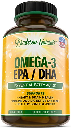 Omega-3 EPA, DHA Fish Oil by Bradeson Naturals - 60 softgels - Natural Dietary Supplement – Essential Fatty Acids: 2000mg Omega 3 Fish Oil, 360mg EPA, 240mg DHA, Vitamin E – No Fishy Burps, Aftertaste