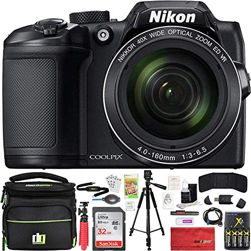 - Nikon COOLPIX B500 16MP 40x Optical Zoom Digital Camera 32GB Bundle Includes Camera, Bag, 32GB Memory Card, Reader, Wallet, AA Batteries + Charger, HDMI Cable, Tripod, Beach Camera Cloth and More