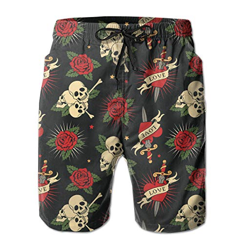 FANTASY SPACE Breathable Beach Cargo Short for Men, Sugar Skulls Flowers Floral Swim Shorts Quick Dry Hip Hop Half Pants with Adjustable Drawstring Plus Size Sportwear for Athletic Workout -