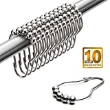 Silver Shower Curtain Uigos Shower Curtain Hooks for Bathroom - Stainless Steel, Set of 12, Chrome