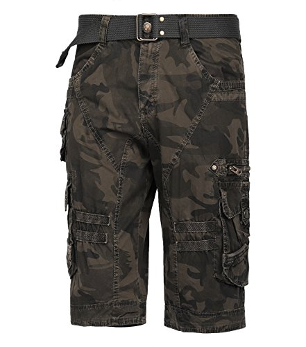 Pocket Cargo Shorts Desert Camo - Resfeber Mens Cargo Shorts/Mens Loose Fit Athletic Twill Cargo Shorts Pants Desert Storm CAMO 2-34