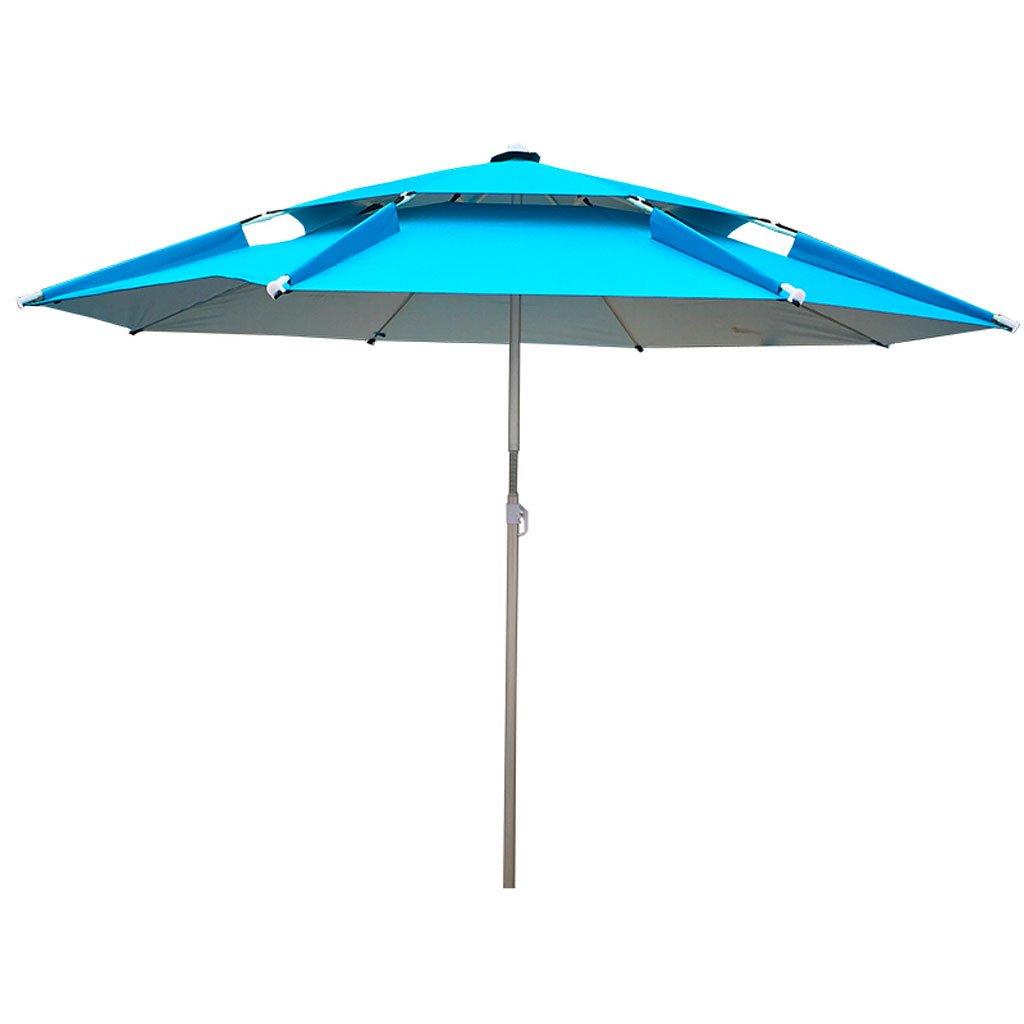 YS 屋外アンブレラ|釣り傘|傘|釣り傘|パラソル|ビーチの傘を挿入する|折りたたみ式屋外バックルユニバーサル調整防雨サンバ|換気の傘|釣り用品|青2.2メートル太陽の傘 yusan (色 : 青) B07D4DZ1BJ 青