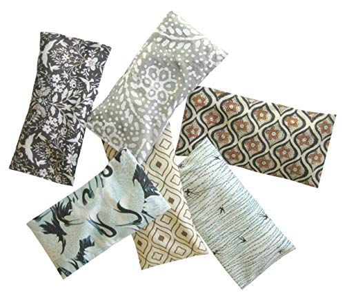 Peacegoods Aromatherapy Eye Pillow - Bundle of (6) - 4.5 x 9 - Organic Lavender Chamomile Flax Cotton - Removable Cover Washable - Brown Green Gray Black Batik Bird Geometric Abstract Earth Tones