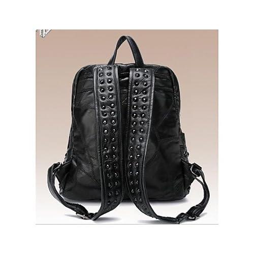LHWBA Women Backpack Sheepskin All Seasons Casual Round Zipper Black 10-20