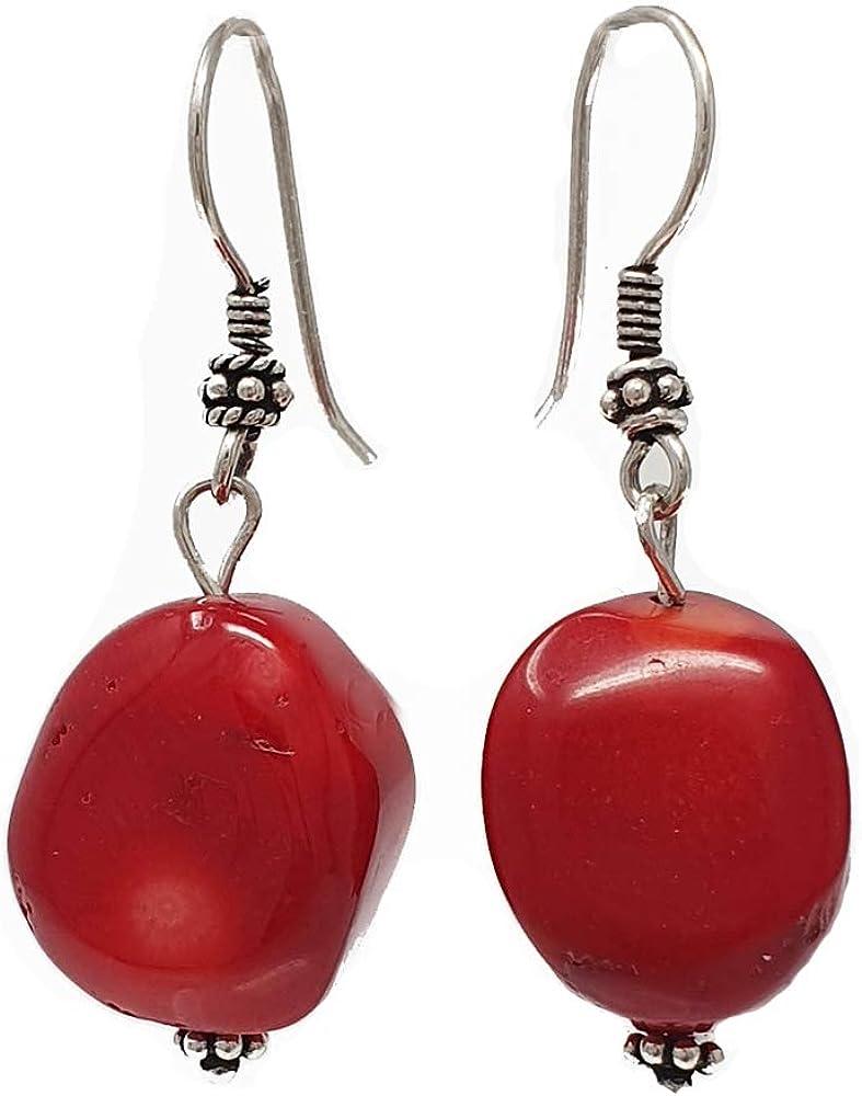 TreasureBay - Pendientes colgantes de coral rojo natural, hechos con plata de ley
