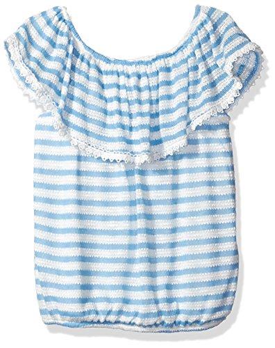 Speechless Girls' Big Striped Sweater Knit Peasant Top, Skyy, XL