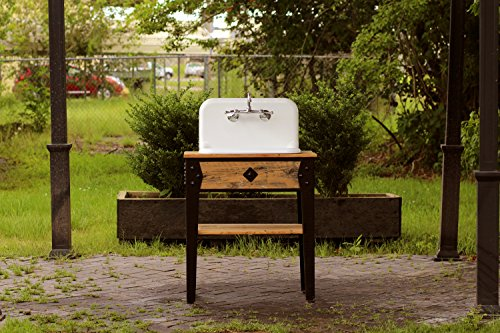 """Reclaimed Wood Vanity (31"""" Reclaimed Barn Wood and Iron Farm Bath Vanity Craftsman Style High Back Cast Iron Farm Sink Stand Package)"""
