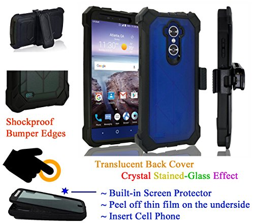 for 6'' ZTE Max XL / Blade X Max case Phone Case 360° Cover Screen Protector Belt Clip Crystal Holster Kick Stand Shock Bumper (Blue) by 6goodeals