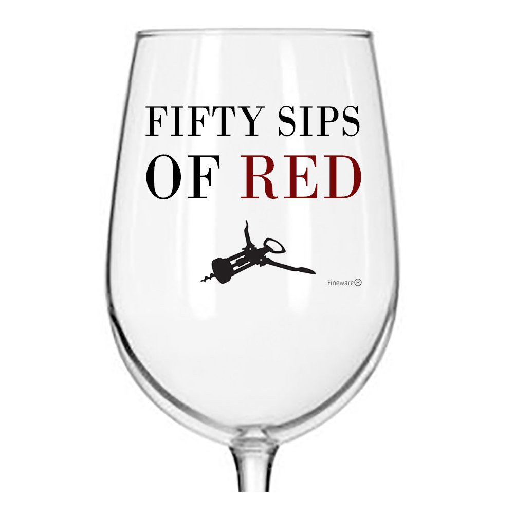 Fineware 50 Sips of Red - Funny Wine Glass - 16 Ounce Libbey Custom Printed Wine Glass Gift