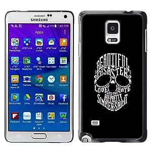 Eason Shop / Hard Slim Snap-On Case Cover Shell - Beautiful Sinner Saint Skull Black White - For Samsung Galaxy Note 4 SM-N910
