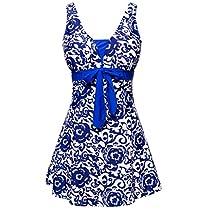 Wantdo Womens One-Piece Oriental Porcelain Slimming Swimsuit Swimdress