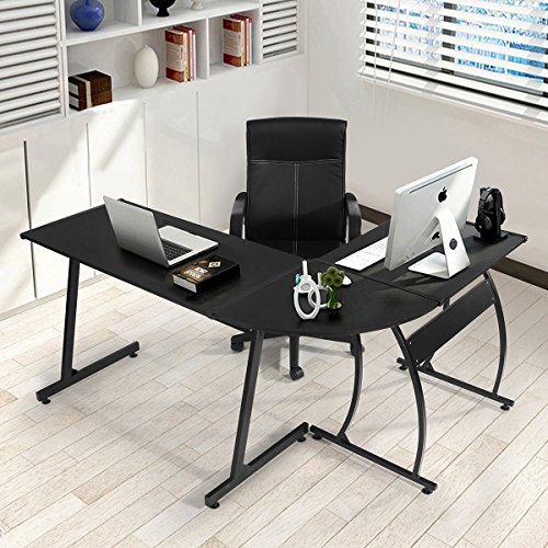 GreenForest L-Shape Corner Computer Office Desk PC Laptop Table Workstation Home Office 3-Piece,Black - Desk And Chair Set