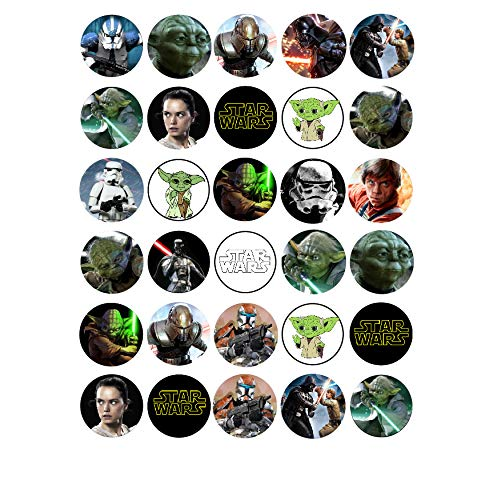 30 x Edible Cupcake Toppers - Star Wars