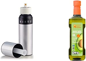 Misto Brushed Aluminum Oil Sprayer - 5061116 & BetterBody Foods 100% Pure Avocado Oil Naturally Refined Cooking Oil Non-GMO 16.9 Ounce Keto & Paleo