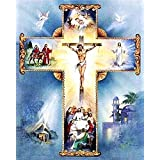 Full Drill Diamond Painting Cross by Number Kits, 5D DIY Diamond Embroidery Crystal Rhinestone Cross Stitch Mosaic Paintings Arts Craft for Home Wall Decor(12X16inch/30X40CM)