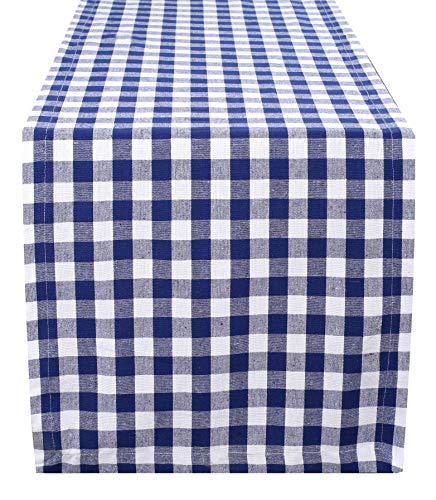 Cotton Gingham Check Plaid Table Runner for Family Dinners or Gatherings, Indoor or Outdoor Parties, Everyday Use, Wedding Table Runner- 16x108 inches, Navy White Checks, Set of 2]()