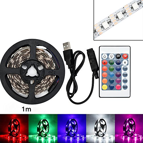 Jonerytime 50-200CM USB LED Strip Light TV Back Lamp 5050RGB Colour Changing+Remote Control (Not Waterproof, 100CM) ()
