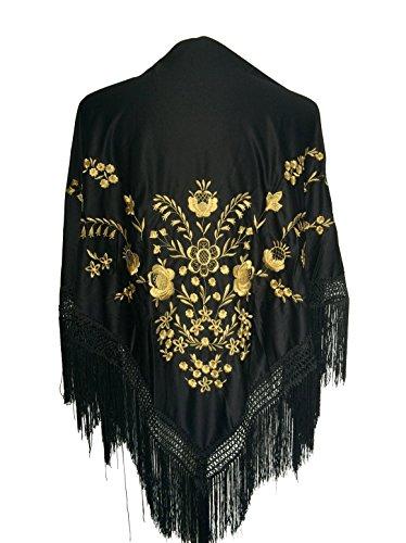 La Senorita Foulard Ceinture Chale De Danse Flamenco Broderie Frange noir d 'or