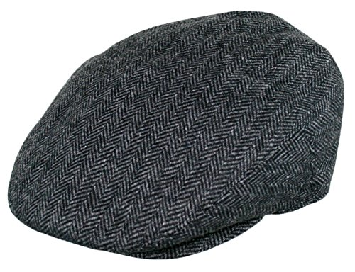 (Men's Premium Wool Blend Classic Flat Ivy Newsboy Collection Hat , 1935-Charcoal, Large)