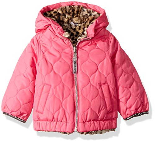 - London Fog Baby Girls Reversible Quilted Midweight Jacket, Fuchsia Cheetah, 24MO