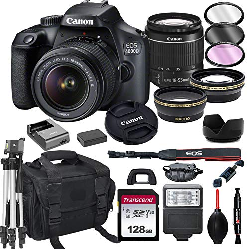 Canon EOS 4000D DSLR Camera with 18-55mm f/3.5-5.6 Zoom Lens + 128GB Card, Tripod, Flash, and More (20pc Bundle)