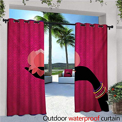 Lotus Outdoor- Free Standing Outdoor Privacy Curtain Silhouette of Woman Hand with Bangles Holding a Japanese Flower Asian Folklore Design for Front Porch Covered Patio Gazebo Dock Beach Home W96 x -