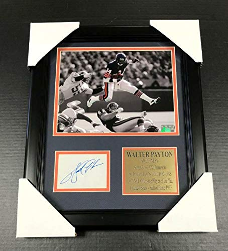 (Signed Walter Payton Photo - Cut REPRINT Framed 8x10 - Autographed NFL Photos )