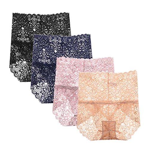 (Femaroly Women High Waist Sexy Lace Panties Elegant Shapewear Briefs Underwear(Pack of 4) US M=Hip:37