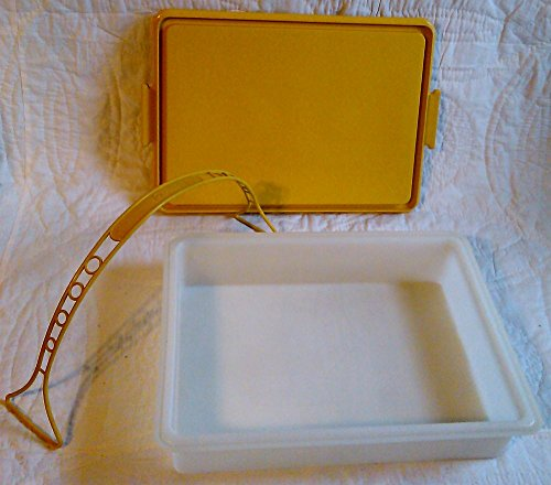 Harvest Cake (3Pc Vintage TUPPERWARE Harvest Gold Rectangle Sheet Cake Taker Carrier Handolier)