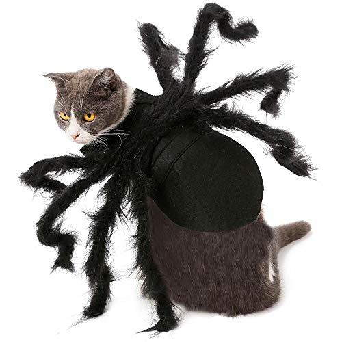 AUOKER Dog Cat Cosplay Costume Halloween, Tarantula Pet Costumes Outfit Apparel Furry Spider Legs for Cats and Small Dogs(Black)]()