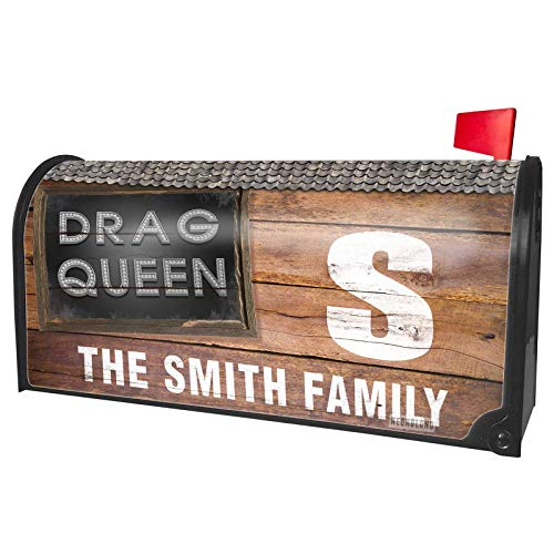 NEONBLOND Custom Mailbox Cover Drag Queen Printed Jewelry on Black -