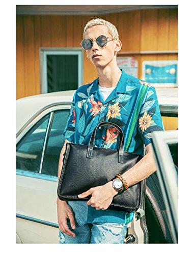 RENHONG Männer Schwarz Mode Echtes Leder Aktentasche Schultertasche Messenger Bag Business Casual Büro College Laptop Notebook Tasche Black kf9JJET