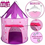 Hide N Side 5pc Princess Tent for Girls Play Tent Princess Castle w Glow in the Dark Stars. Bonus Princess Dress up Tutu Costume set! Tent for Kids Children Princess Pink Play-house Pop Up Tent