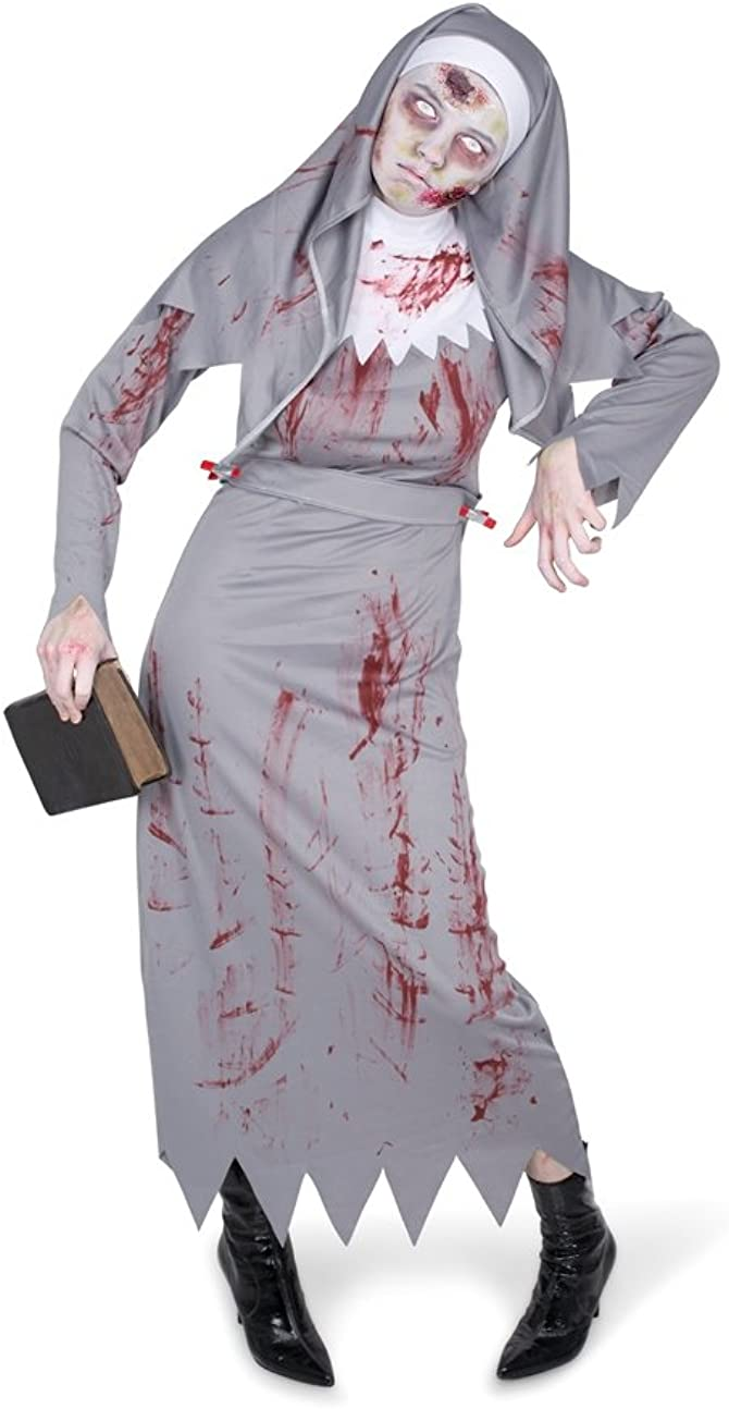 Halloween Zombie Costume.Karnival Women S Zombie Nun Costume Set Perfect For Halloween Costume Party Accessory Trick Or Treating L Grey Amazon In Clothing Accessories