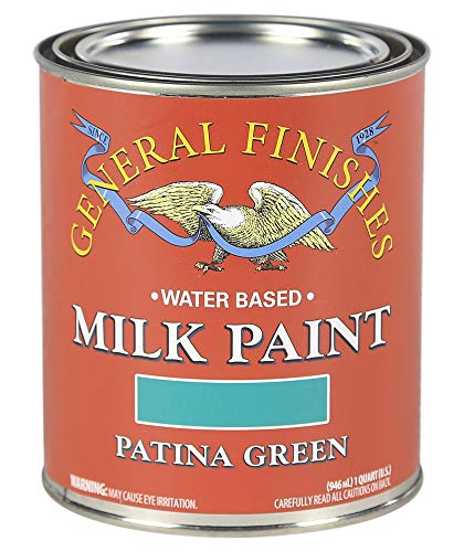 Green Milk Paint (General Finishes QTPG Water Based Milk Paint, 1 Quart, Patina Green)