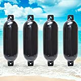 "Twin Eye Ribbed Boat Pontoon Fender 6.5"" x 23"" 4pcs Inflatable Vinyl Mooring Bumpers Guard Dock Docking - Black"