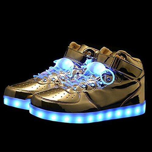 KUshopfast Kinder leuchten Schuhe Jungen und Mädchen High Top LED Energy Lights Turnschuhe (perfektes Geschenk für Kinder und Jugendliche) Gold3