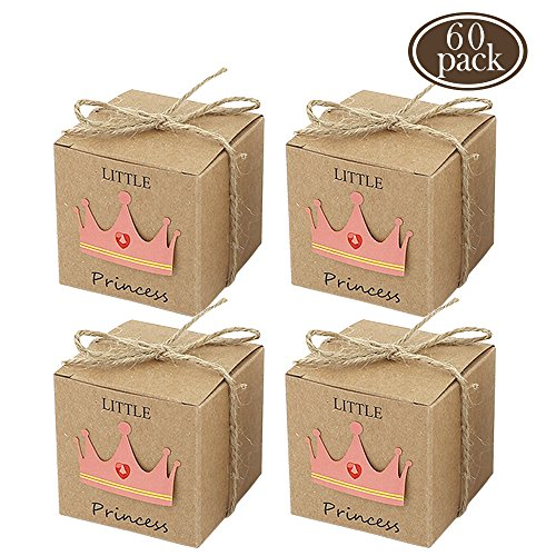 BAKHUK 60pcs Little Princess Baby Shower Favor Boxes,Rustic Kraft Paper Candy Box Gift Box for Baby Shower Party Supplies,1st Birthday Girl Decoration