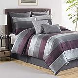 Hudson Elegant Luxury Striped Quilted Patchwork Jacquard Purple/Grey Bedding 8 Piece Bed in a Bag Comforter Set, KING