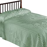 Collections Etc Starburst Vintage Country Lightweight Bedspread, Sage Green, King