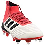 adidas Mens Predator 18.1 Soft Ground Soccer Casual Cleats, Red;White, 10.5