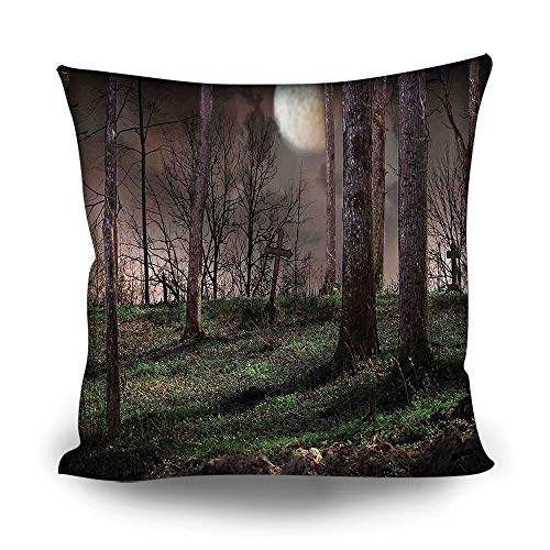 Gothic Throw Pillow Cases,Dark Night in The Forest with Full Moon Horror Theme Grunge Style Halloween for Bedroom Decor,24