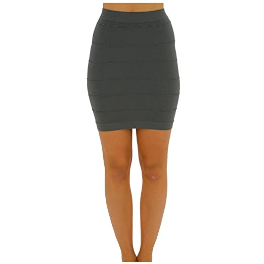 047a5dc1f4 TD Women's Fashion Line Mini Skirt Pleated Seamless Stretch Tight Bodycon  Skirt S-M Dark Gray