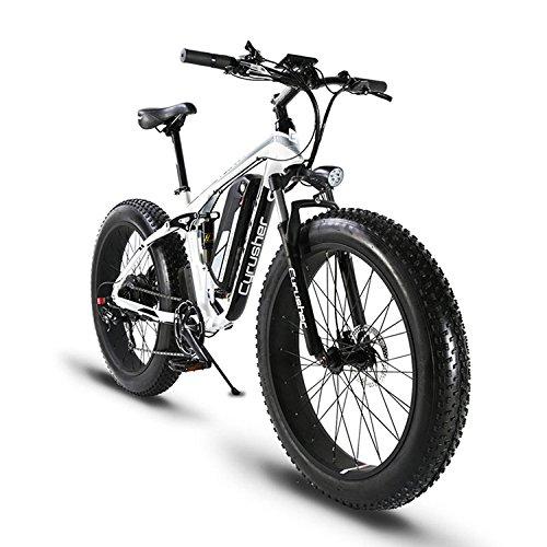 Cyrusher XF800 ファットバイク アシスト自転車 17×26インチ マウンテンバイク1000W 48V13An アルミフレーム FATBIKE迫力の極太タイヤ スノーホイール B07FGDDNWYwhite