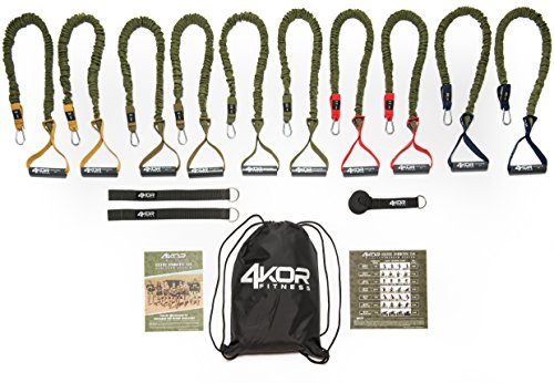Resistance Band Set by 4KOR Fitness, Strength and Performance System (5 Levels w/Rack Straps & Door Anchor)
