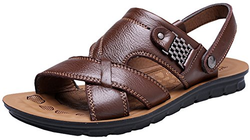 Vocni Men's Open Toe Casual Leather Comfort Shoes Sandals -Brown EU 40-7D(M) US