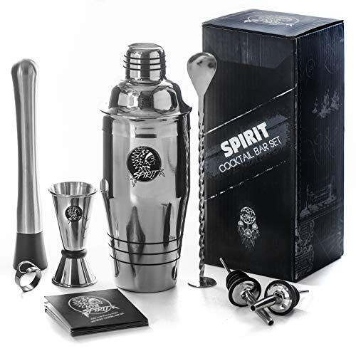 (9-in-1 Bartender's Kit: 24 Oz Stainless Steel Cocktail Shaker with Full Home and Bar Beverage Preparation Set, Leak-Proof Cup, Muddler, Spoon, Jigger, Pourers, Opener, Martini Mojito Kit by Spirit )
