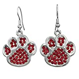 Paw Print School Spirit Mascot Rhinestone Silver Tone Dangle Earrings - Assorted colors (Red)