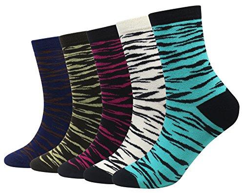 Cansok Men's 5 Packs Fun Crazy Animal Novelty Dress Crew Socks (Zebra Stripe)