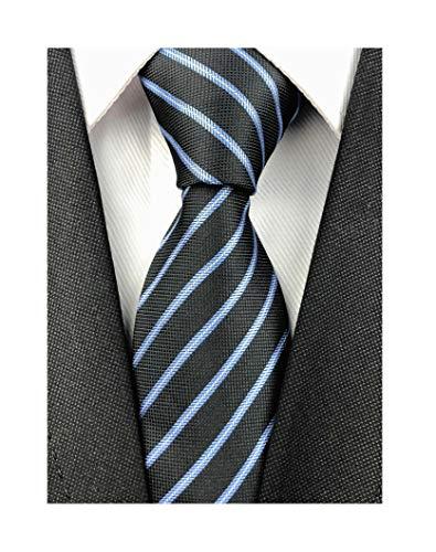 Men Striped Black Silk Ties Woven Neckties Creative Design Graduation Gift for Son